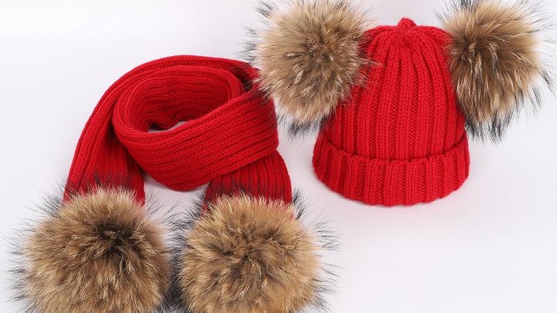 Raccoon Fur Pom Poms Knit Beanie Hat Scarf set