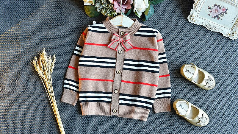 Little Girls Knit Outfits Stripes Sweater Cardigan