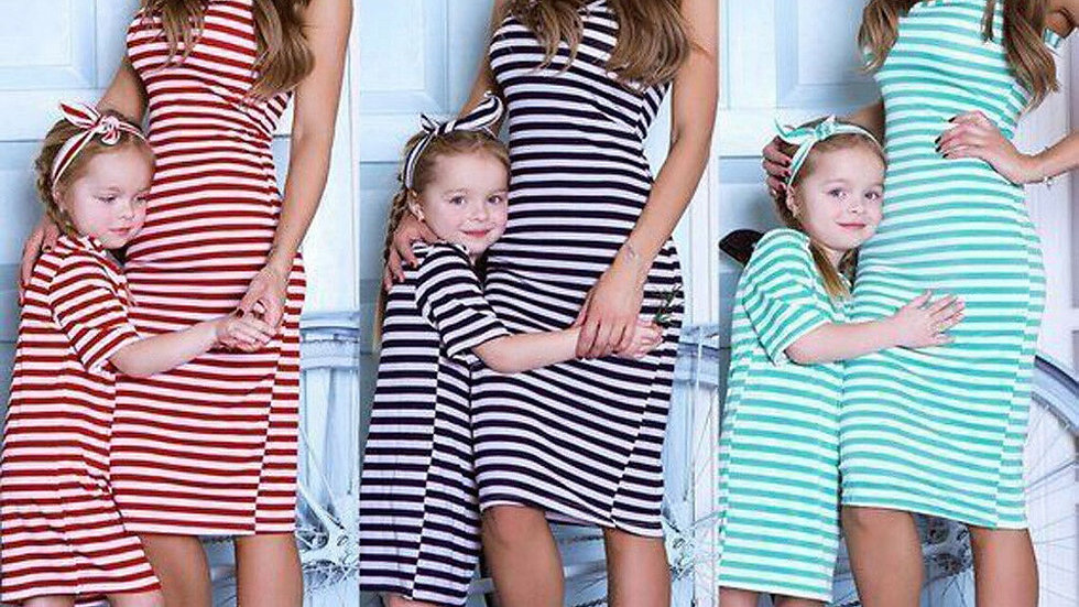 Mommy and Me Matching Strip Dresses