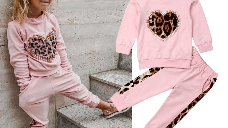 Leopard heart pink jogger