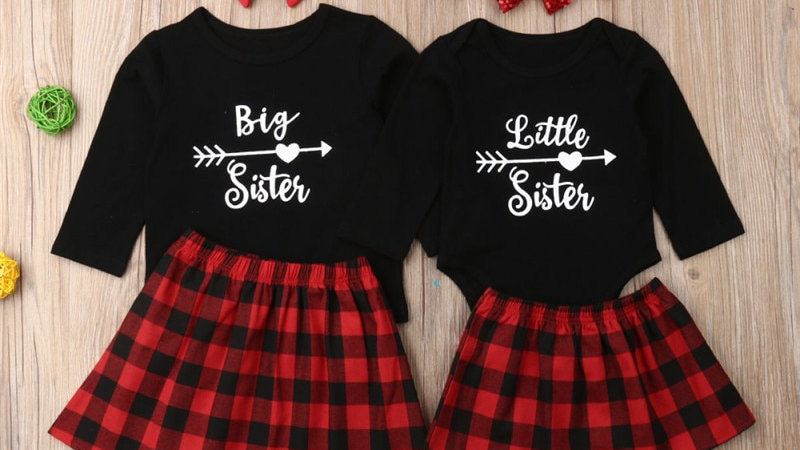 Matching Big Sister/ Little Sister Romper+Plaid Dress Outfits