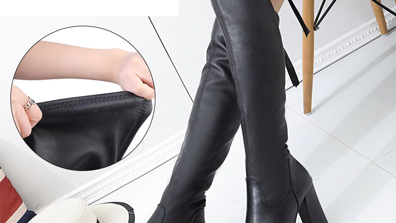 Leather  Long Boots Over the Knee Boots Platform