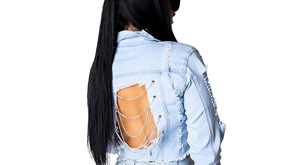 Backless Chain Jeans Jacket