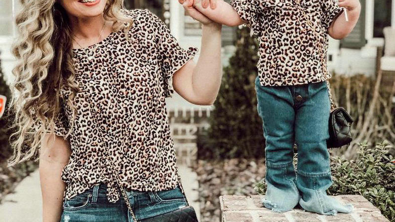 Mommy and Me Clothes Short Sleeve Leopard Tops