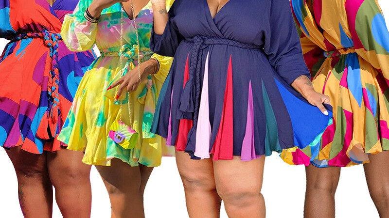 Sexy V-Neck Plus Size Dress