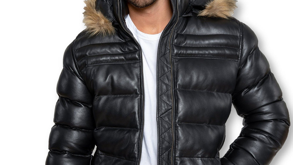 Men's Crimson Black Puffer Winter Down Leather Jacket With Fur