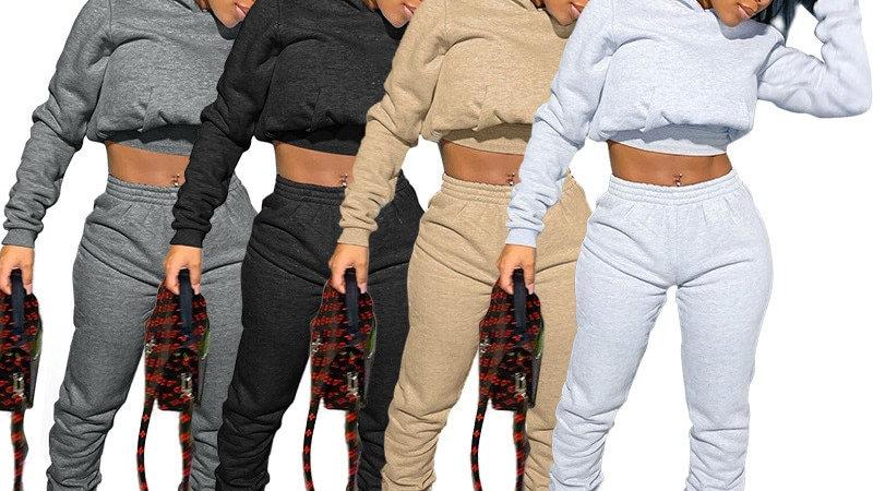 Solid color Long Sleeve Crop Tops Hoodie Sweatshirt Joggers Pants  Matching Set