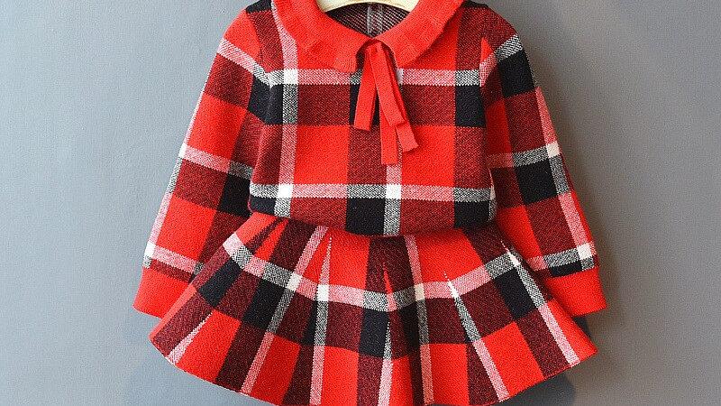 Girls Knitted Shirt Sweater and Skirt 2 Pcs