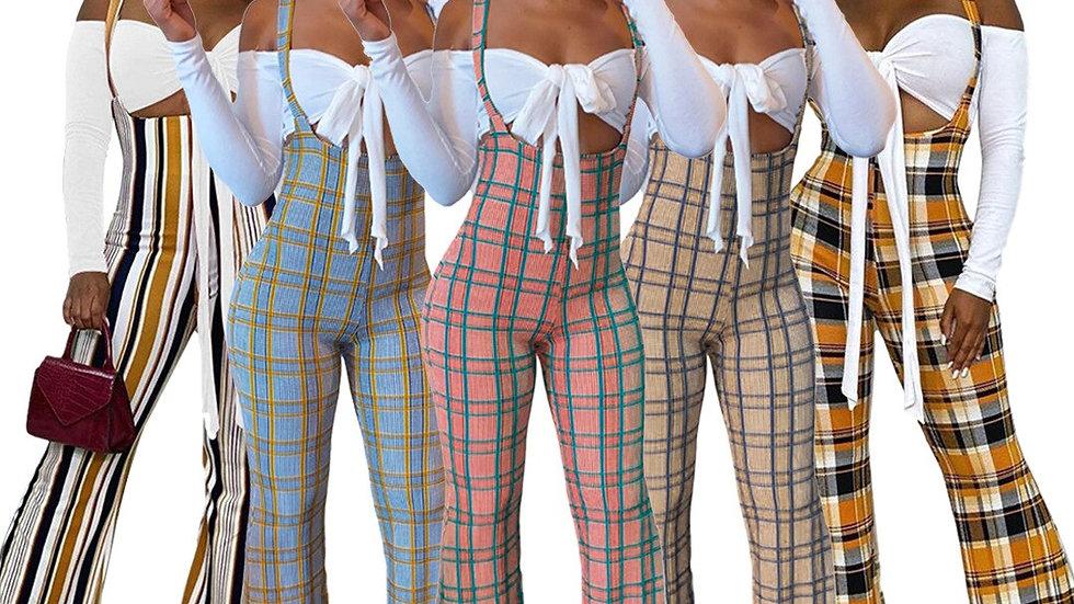 Off Shoulder Crop Top Plaid Overall Pants Set