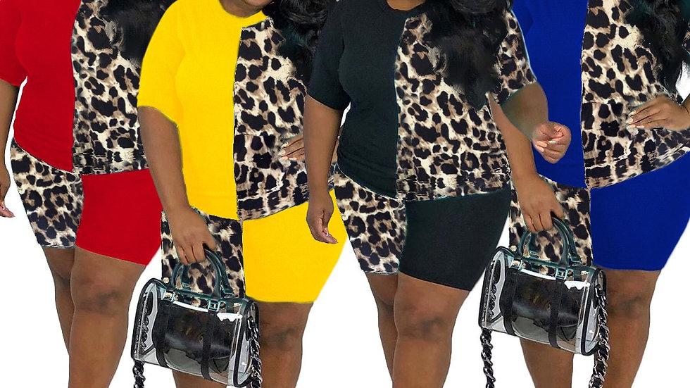 CM.YAYA Plus Size Women Leopard Patchwork Two Piece Set Tracksuit