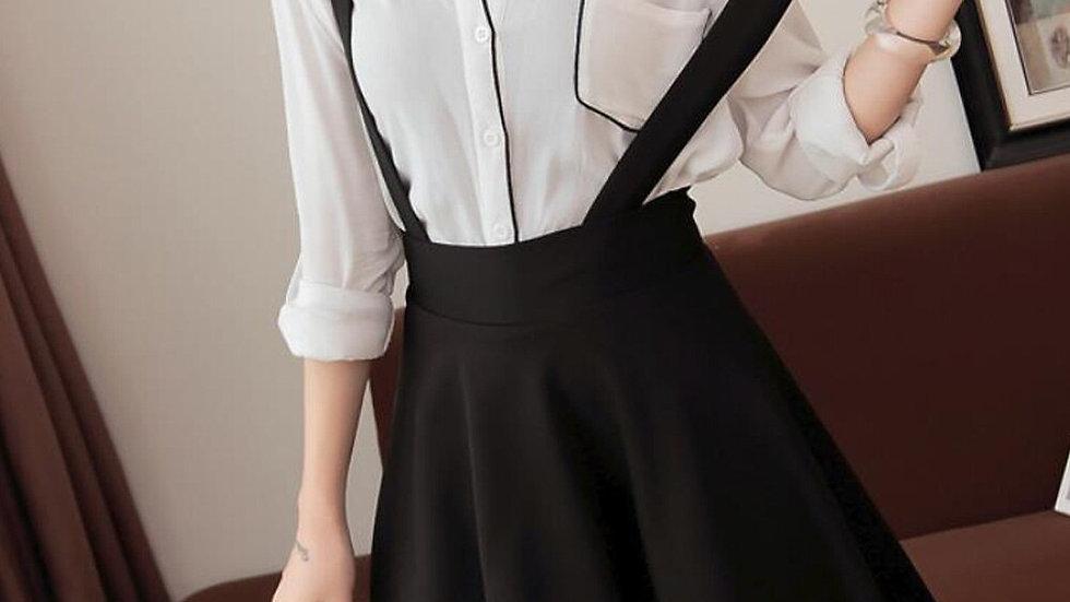 Black Suspender High Waist Skirts