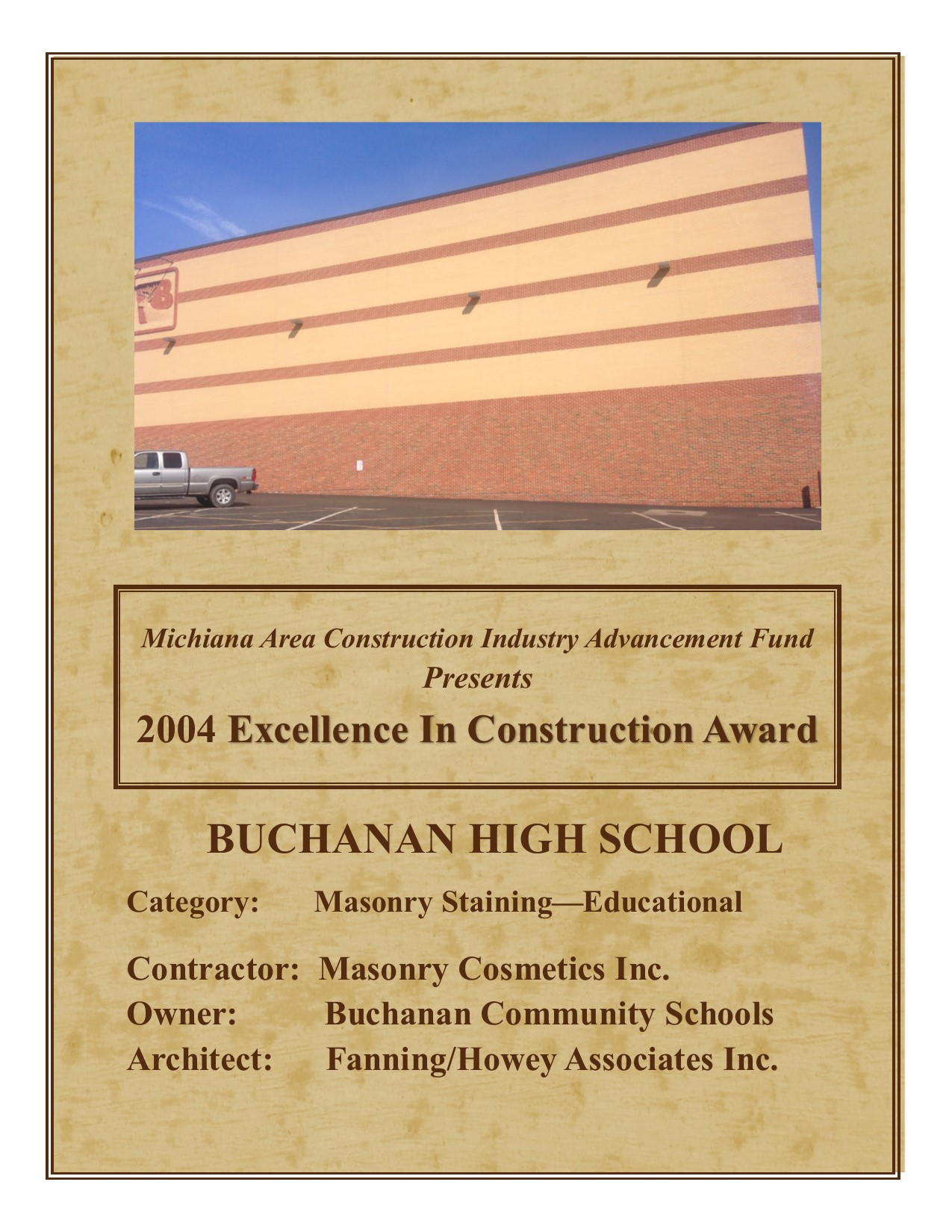 '04 Excellence in Construction Award