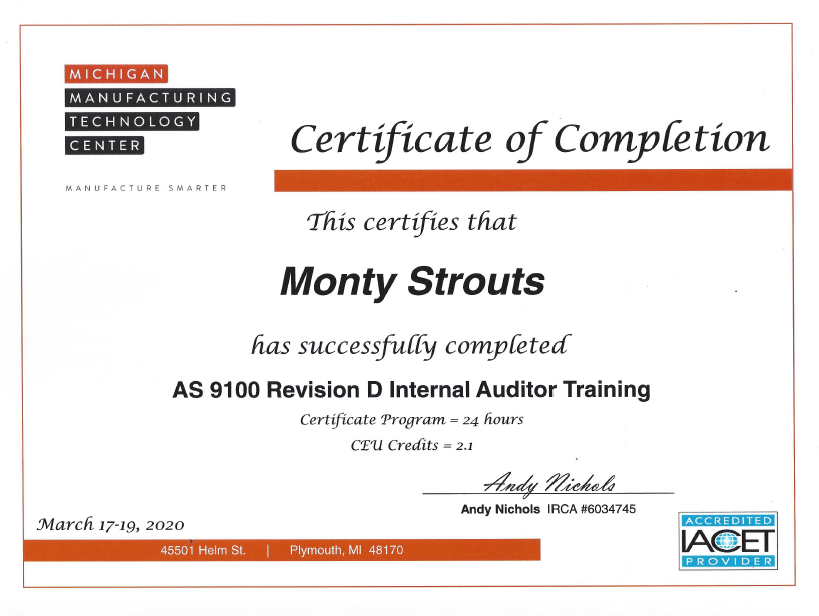 Strouts Internal Auditor Training