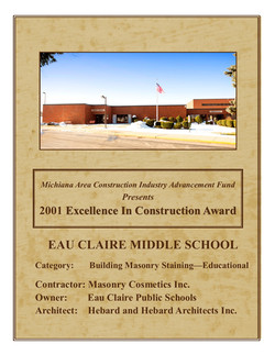 '01 Excellence in Construction Award