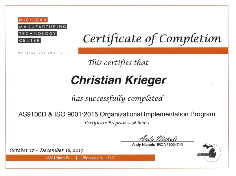 Krieger Organizational Implementation Pr