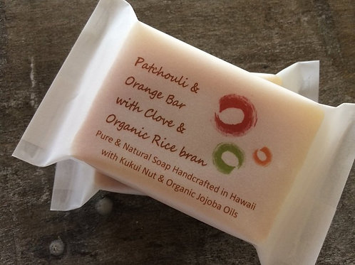 Patchouli & Orange Bar with Clove & Organic Rice Bran 4oz & 2oz