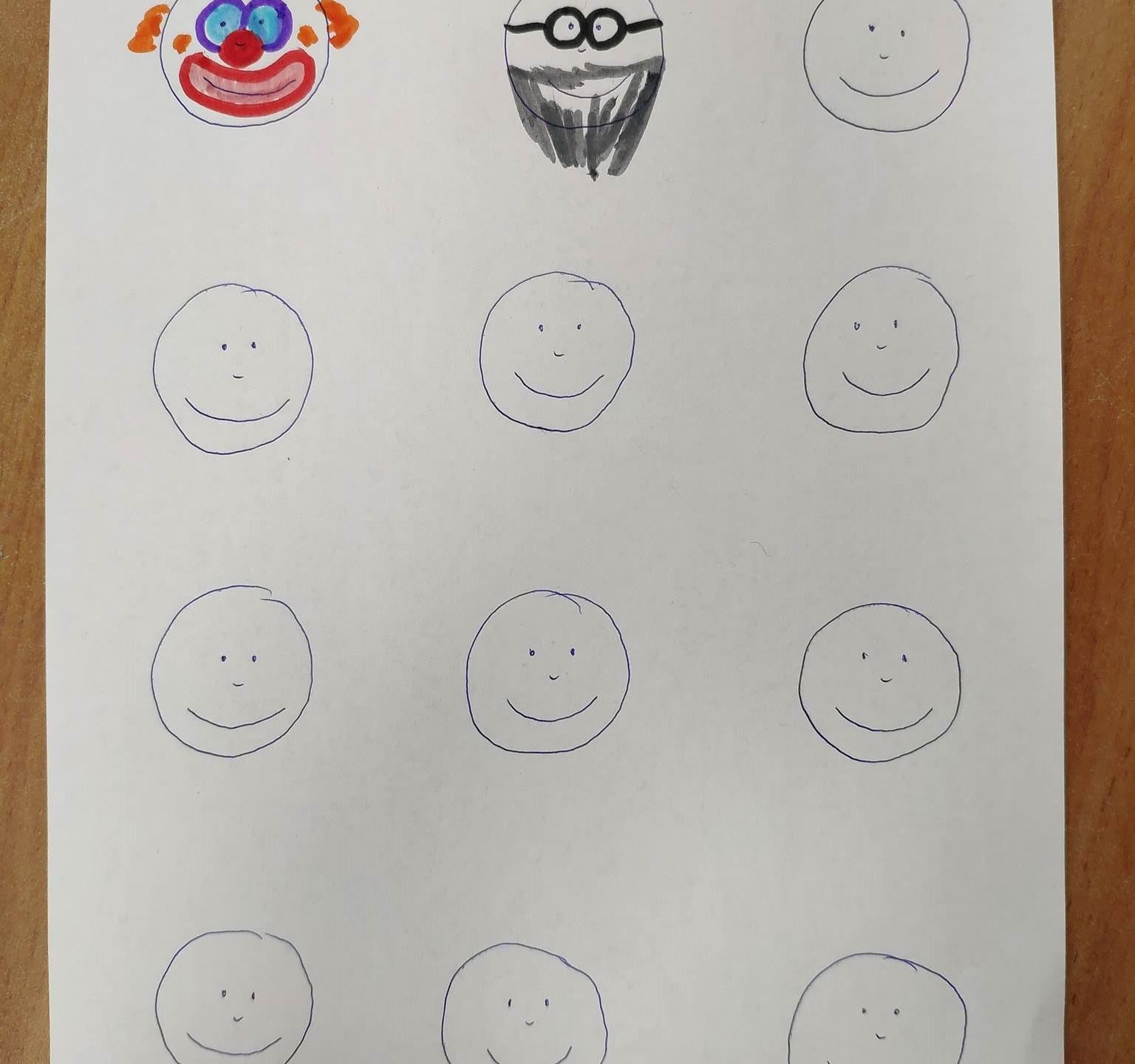 משחק גרפומוטורי לכבוד פורים. פרצופים רגילים הופכים עם טושים וקצת דמיון... ליצורים אחרים