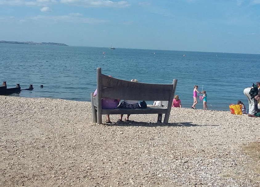 bench on whitstable beach