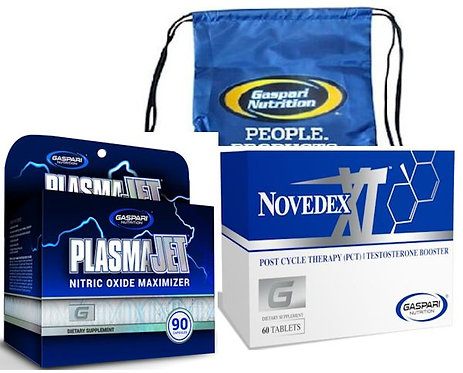 Gaspari Nutrition Plasmajet and Novedex XL Muscle Stack with FREE Back Pack