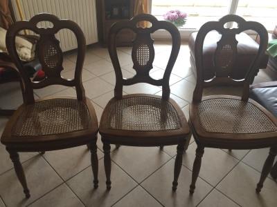 Refection de Chaise cannée - Remplacement du cannage par assise en tissu tapissé