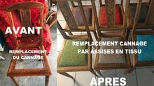 Idée pour vos chaises cannées : Remplacer le cannage par assise en tissus !