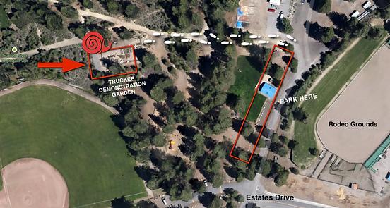 Location of Slow Food Lake Tahoe's Food Bank Garden in the Truckee River Regional Park