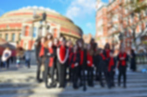MK Youth Choir outside the Royal Albert Hall, November 2017