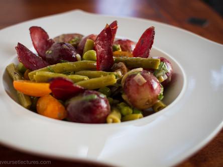 Salade de haricots verts au magret de canard fumé et noix de cajou