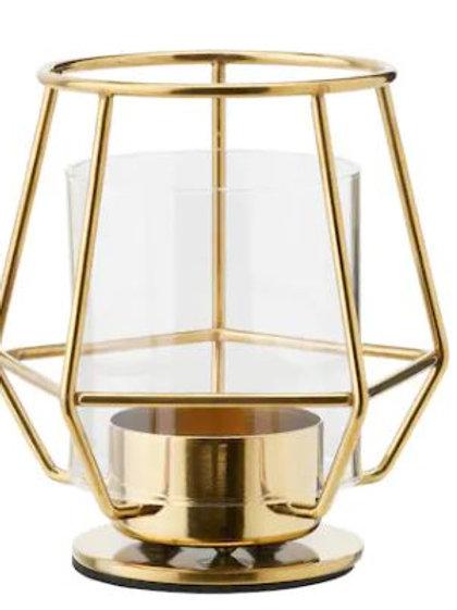 Gwen Gold Geo tea light holder 10cmH
