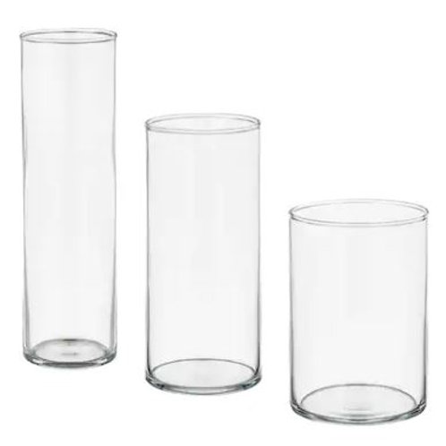 Clio Clear glass cylinder vases/candle holders SET 3