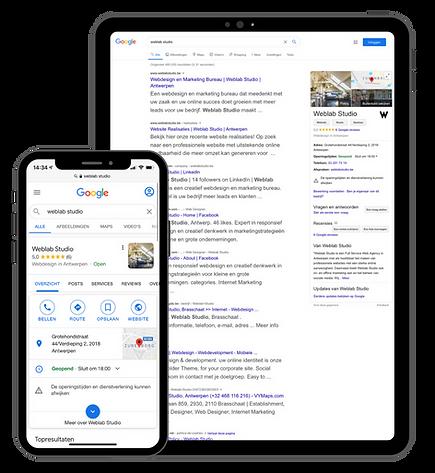 Google SEO zoekresultaten