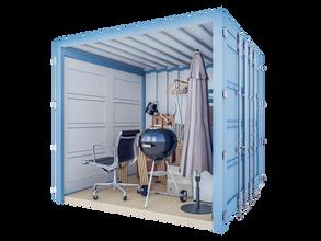 Opslagcontainer S | 5 m² - 45° aanzicht