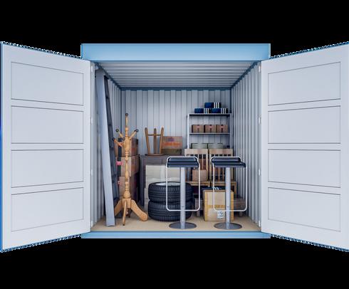 Opslagcontainer M | 7 m² - vooraanzicht