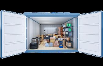 Opslagcontainer L | 14 m² - vooraanzicht