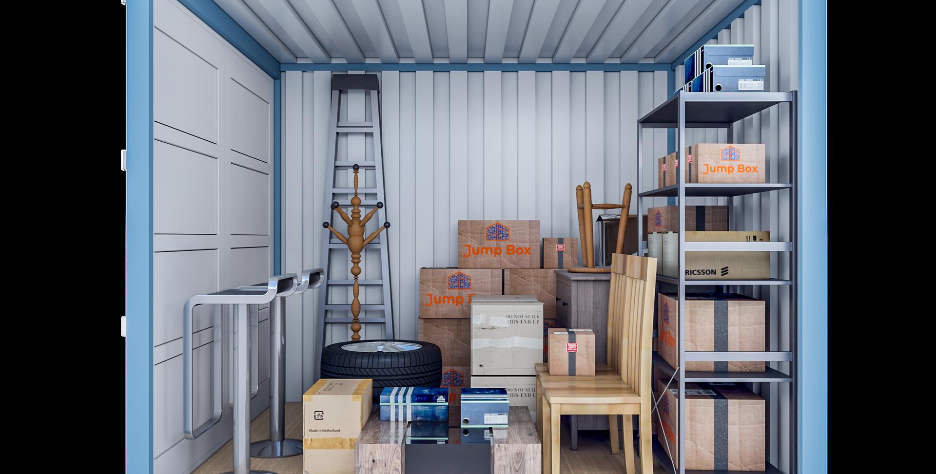 Opslagcontainer M | 7 m² - zijaanzicht