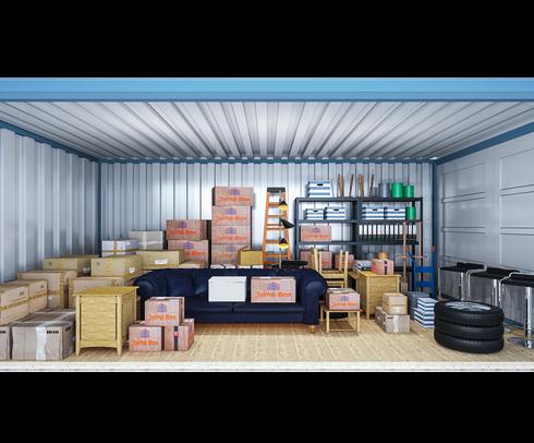 Opslagcontainer L | 14 m² - zijaanzicht