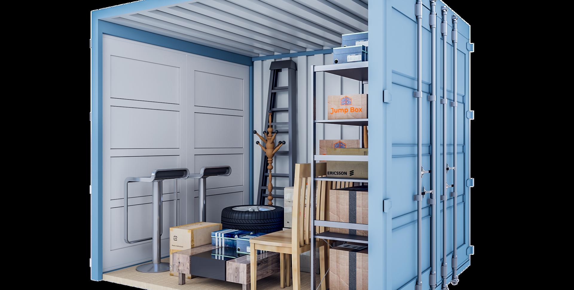 Opslagcontainer M | 7 m² - 45° aanzicht
