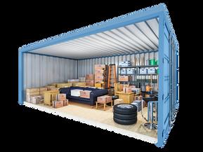 Opslagcontainer L | 14 m² - 45° aanzicht
