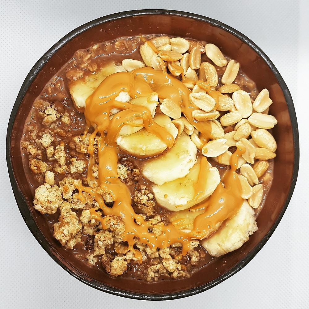 porridge avoine chocolat beurre de cacahuete sans gluten sans lait chocolat petit dejeuner healthy