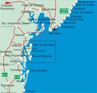 Mapa e rota do catamarã