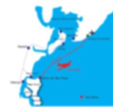 Mapa e rota do taxi aereo para Morro de São Paulo