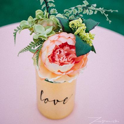 Gold love vase with peach flower