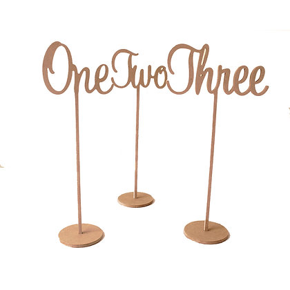 Wooden Number Words on Stand