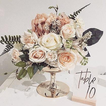 Low Gold Vase With Silk Floral Arrangement