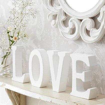 White Wooden LOVE Freestanding Blocks