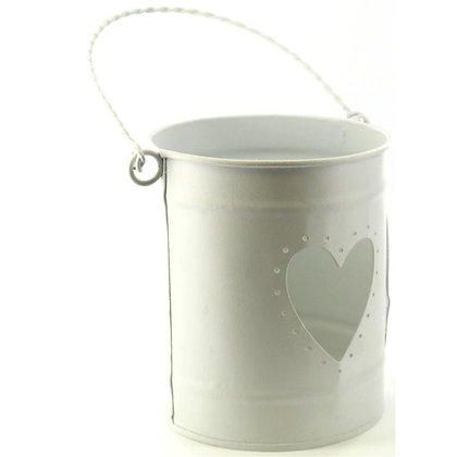 White Heart Bucket Tealight Candle Holder 13sm