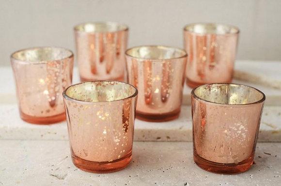 Glass rose tea light candle holders