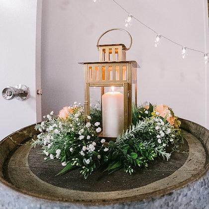 Flower wreath with lanterns
