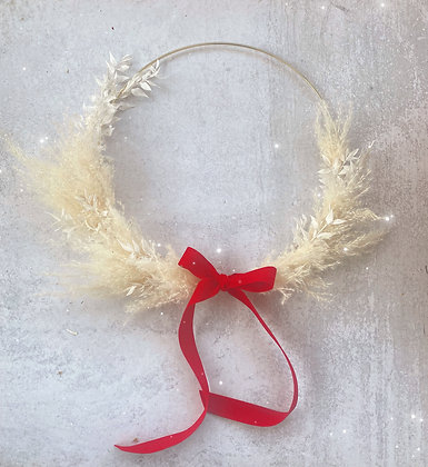 White Pampas Holiday Wreath