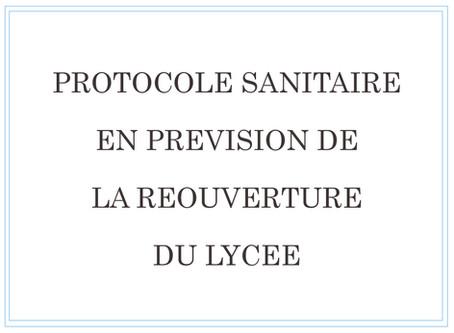 Guide sanitaire à destination des familles en prévision de la réouverture du lycée